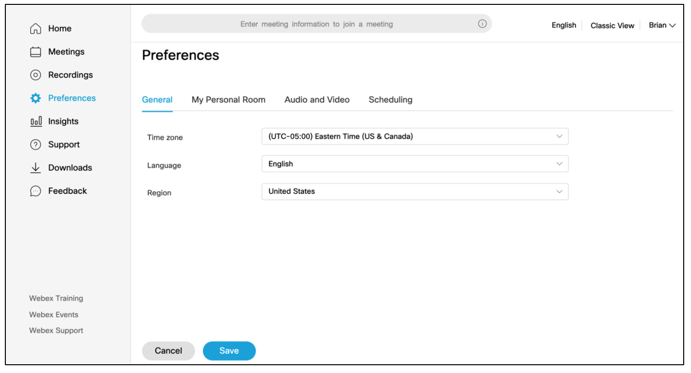 Managing WebEx Preferences | Technology Services