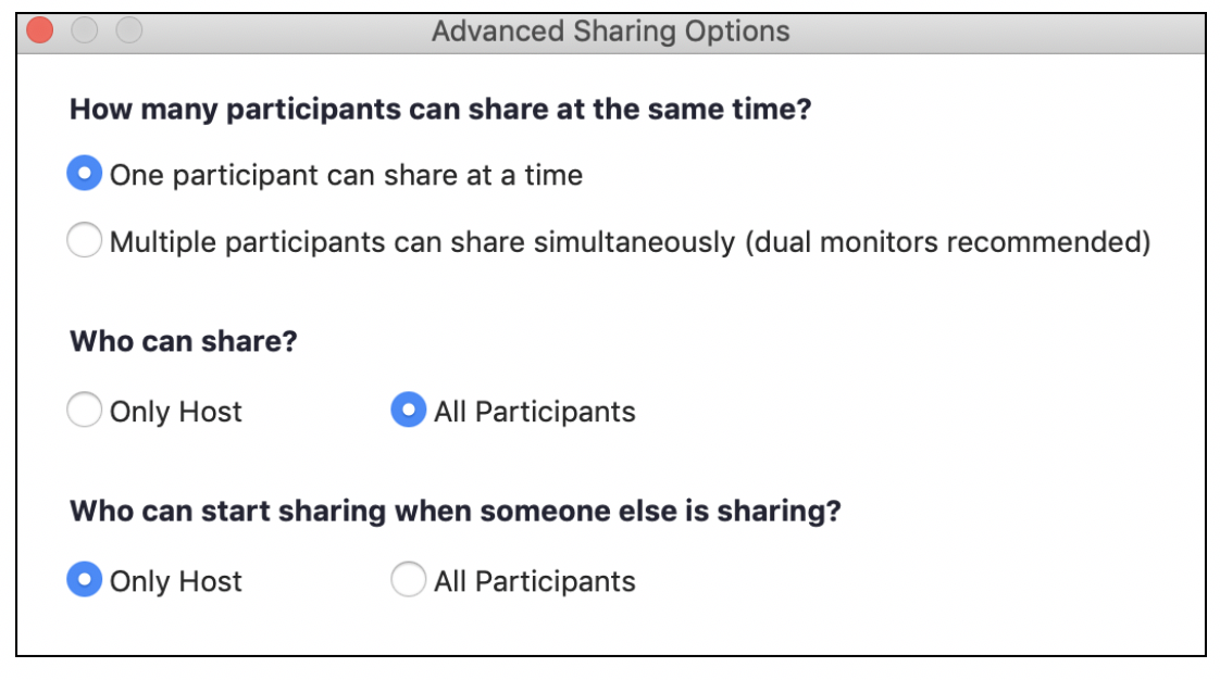 Advanced Sharing Options window
