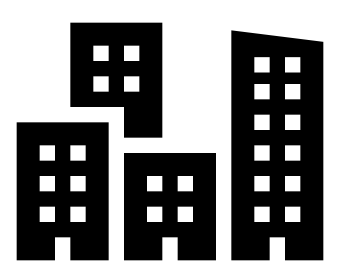 Clip art of a collection of buildings