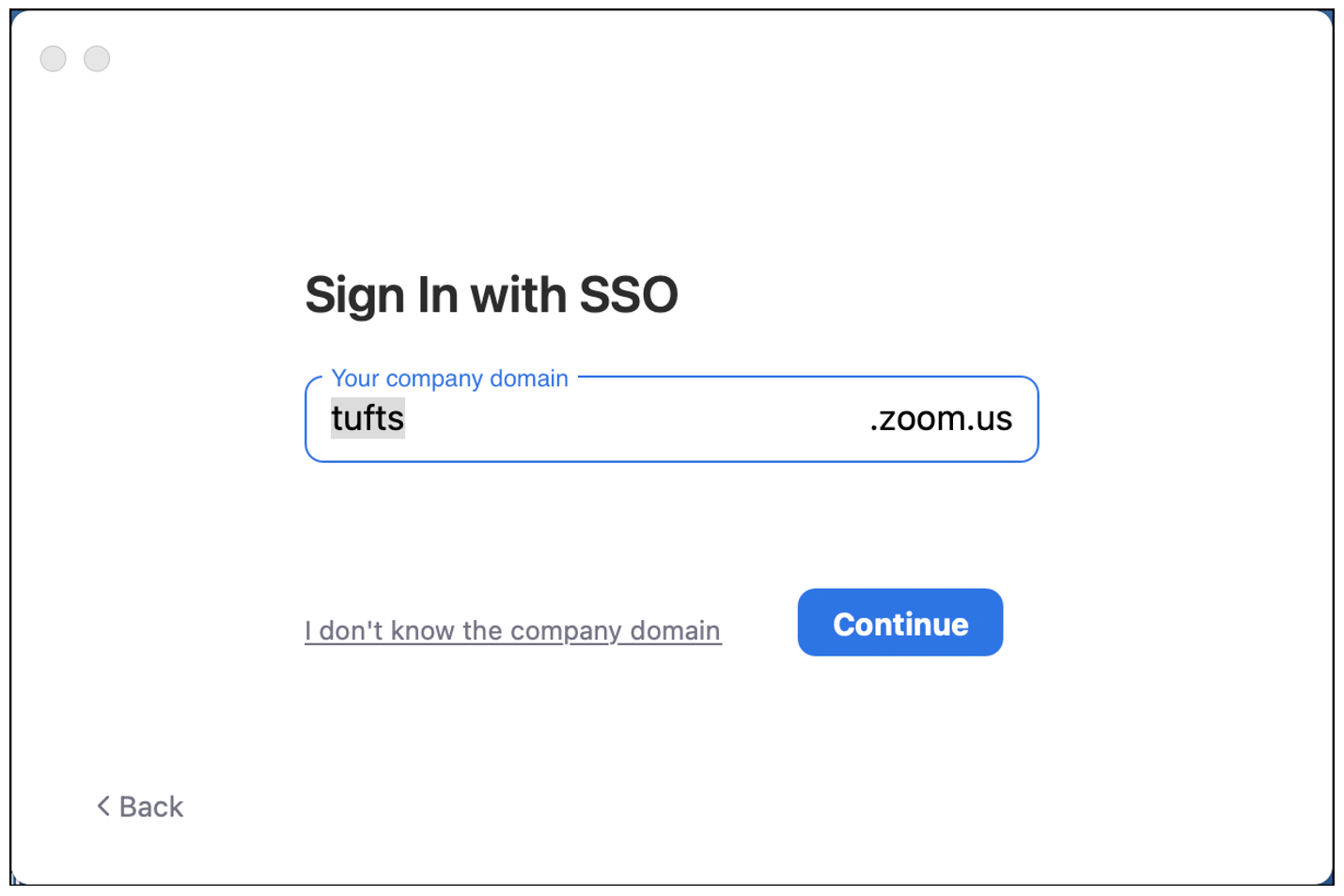 tufts.zoom.us company domain