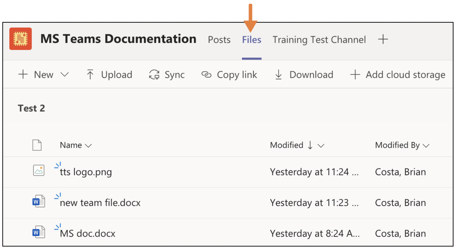 Files tab within a team channel