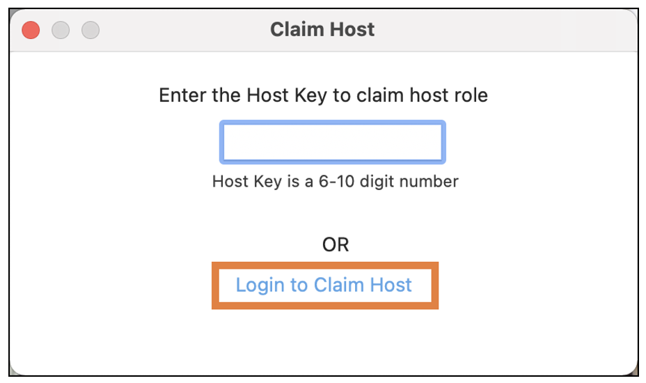 Login to Claim Host option