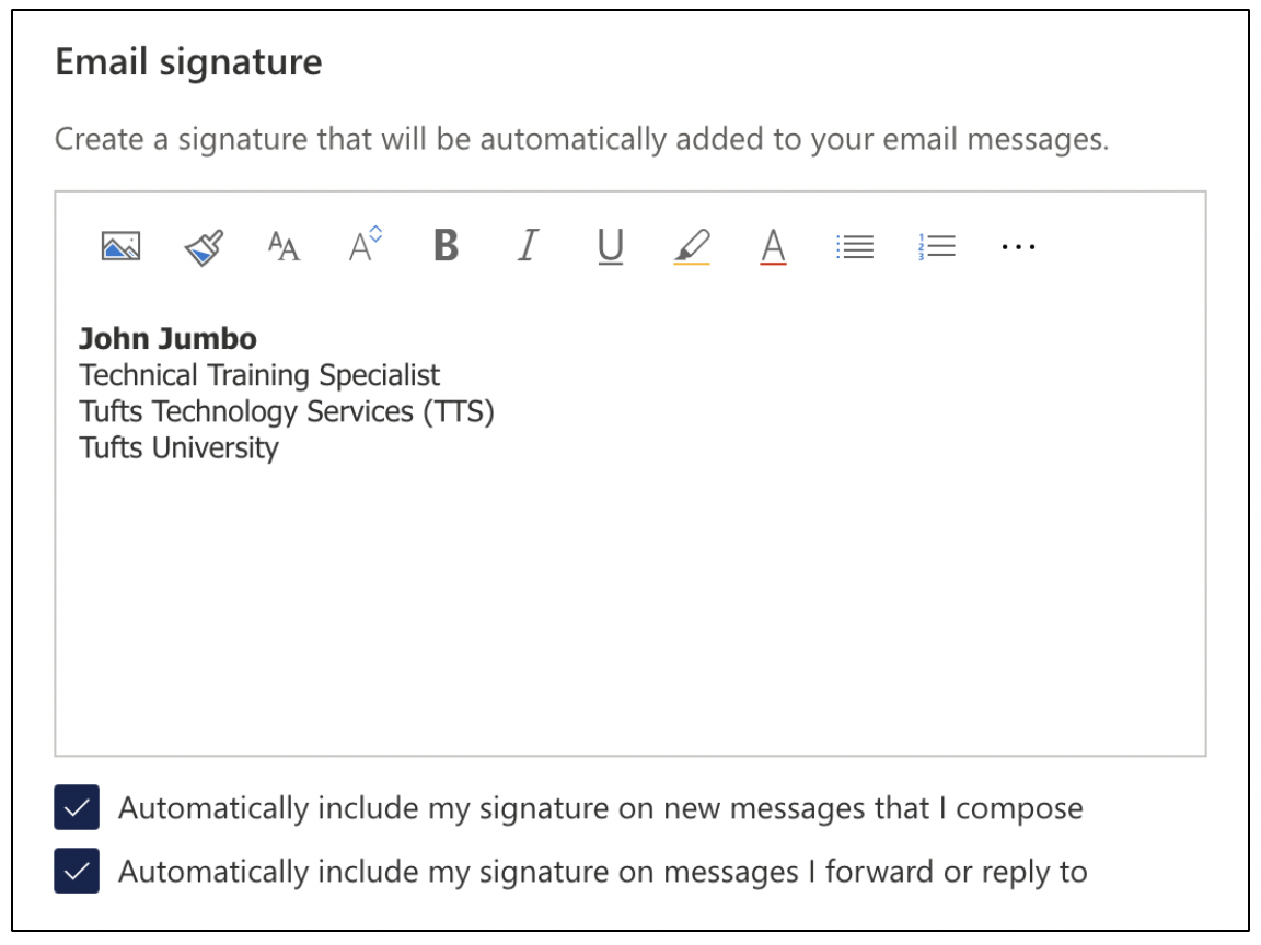 Editing an email signature in Outlook 365