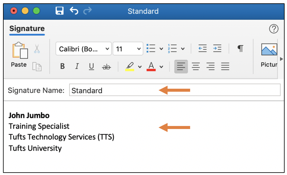 Editing a signature in Outlook desktop application