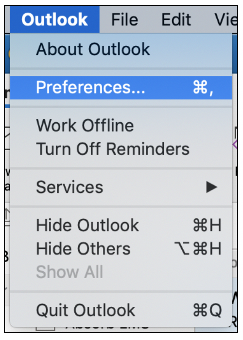 Opening Outlook Preferences in desktop application