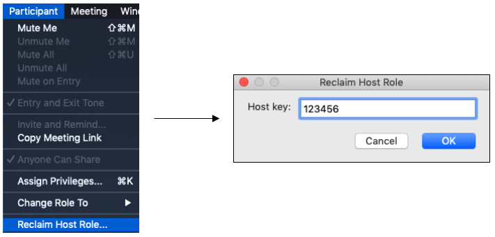 Reclaim Host role and enter host key