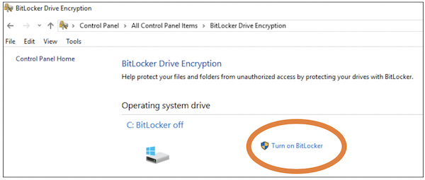 turn on bitlocker is to the left of the C drive