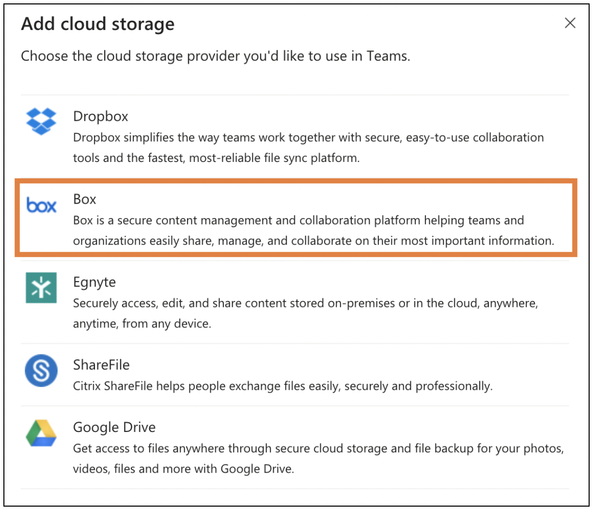 Selecting Box from the list of cloud storage options