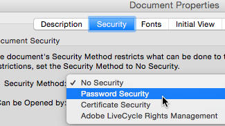 Password Security option