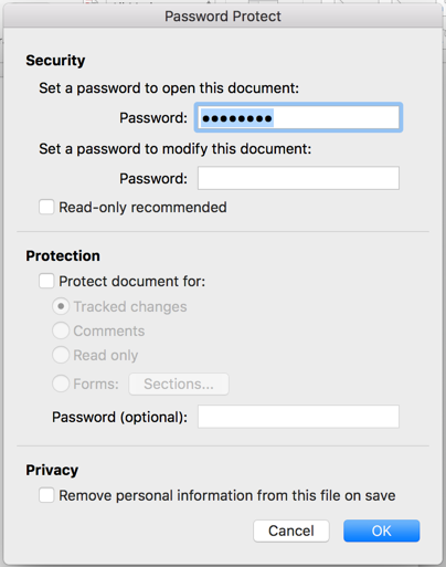 Password Protecting and Encrypting MS Word Files (Mac