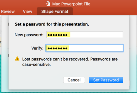Password Protecting and Encrypting MS PowerPoint Files (Mac