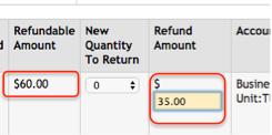 enter refund amount in the corresponding field