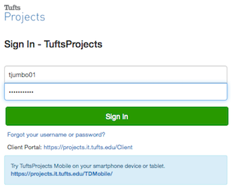 Log in screen for TuftsProjects