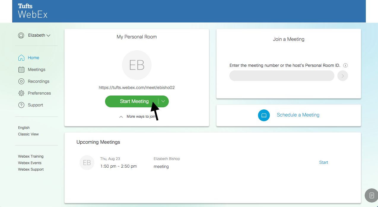 Start a WebEx Personal Room | Technology Services